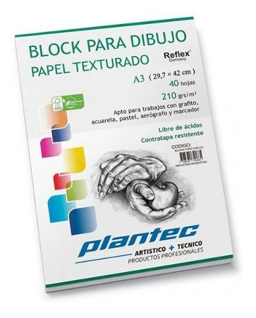 BLOCK DIBUJO PLANTEC ENCOLADO A3 40H 210GR TEXTURADO (x U.)