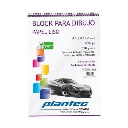 BLOCK DIBUJO PLANTEC ESPIRAL A3 40H 210GR LISO (x U.)