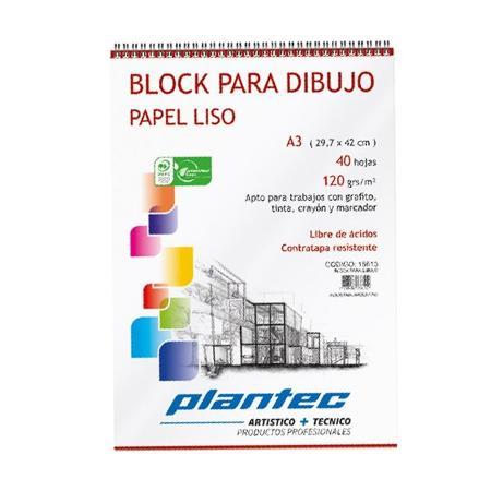 BLOCK DIBUJO PLANTEC ESPIRAL A4 40H 210GR LISO (x U.)