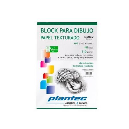BLOCK DIBUJO PLANTEC ENCOLADO A4 40H 210GR TEXTURADO (x U.)