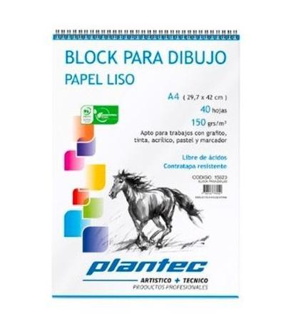 BLOCK DIBUJO PLANTEC ESPIRAL A4 40H 150GR LISO (x U.)