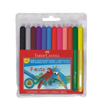 FIBRA FABER FIESTA X12 ESTUCHE RIGIDO (x U.)