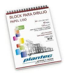 BLOCK DIBUJO PLANTEC ESPIRAL A4 40H 120GR LISO (x U.)